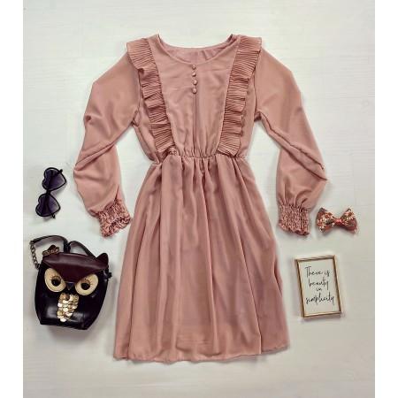 Rochie scurta roz cu volanase crete si nasturi