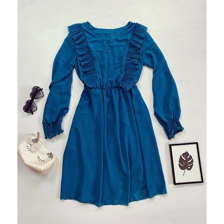 Rochie scurta albastra cu volanase crete si maneca lunga
