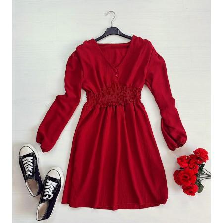 Rochie scurta rosie cu talie elastica si nasturi