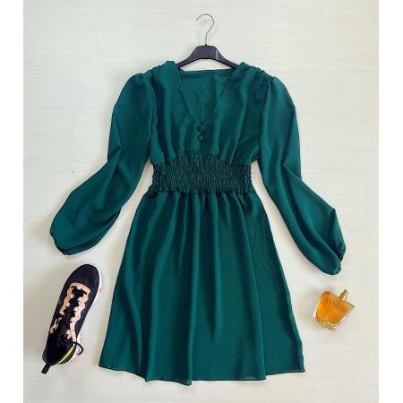 Rochie scurta verde marin cu talie elastica si nasturi