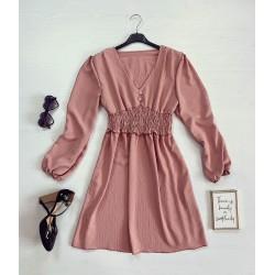 Rochie scurta roz cu talie elastica si nasturi
