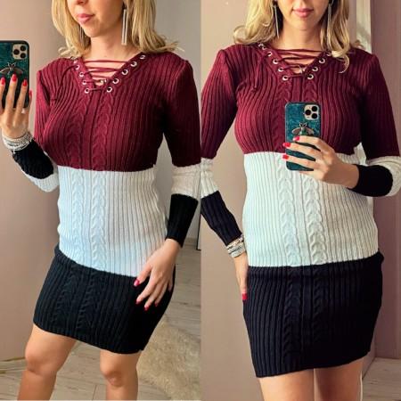 Rochie tricotata scurta groasa in 3 culori cu snur