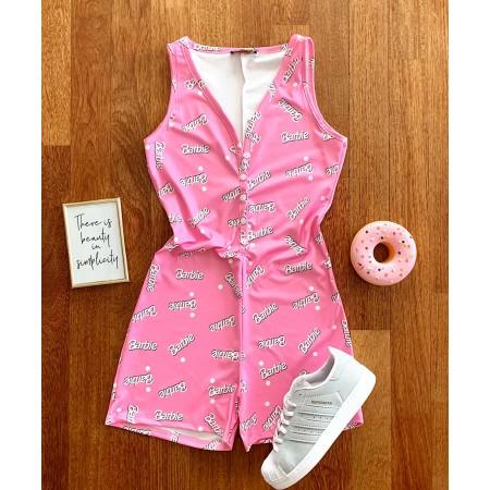 Salopeta scurta roz pentru vara cu imprimeu Barbie
