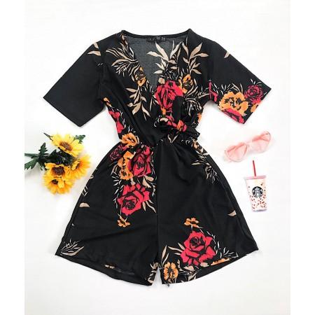 Salopeta dama scurta neagra cu imprimeu floral