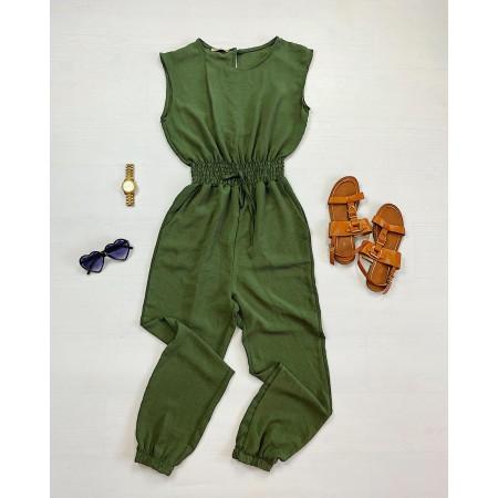 Salopeta lunga casual eleganta verde cu elastic