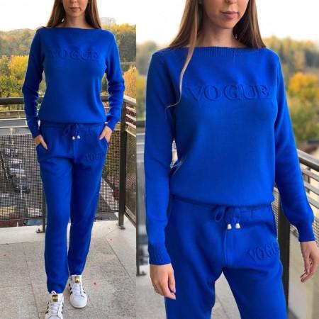 Trening dama albastru din tricot cu inscriptie Vogue