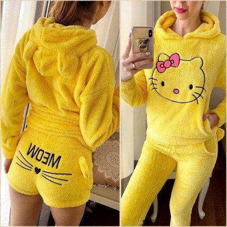 Compleu dama galben alcatuit din 3 piese gros si calduros Hello Kitty