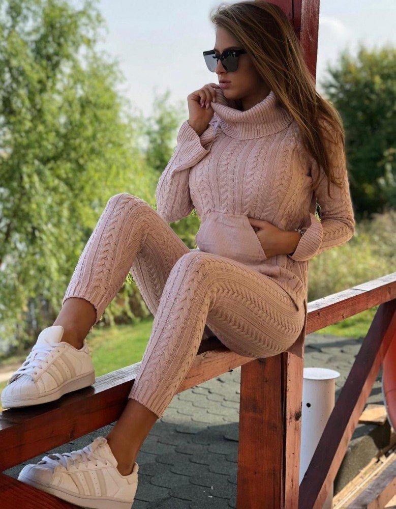 Trening dama rose din tricot cu model si buzunare superb