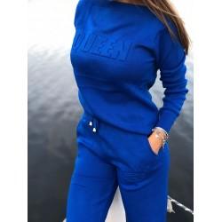 Trening dama albastru din tricot cu text QUEEN