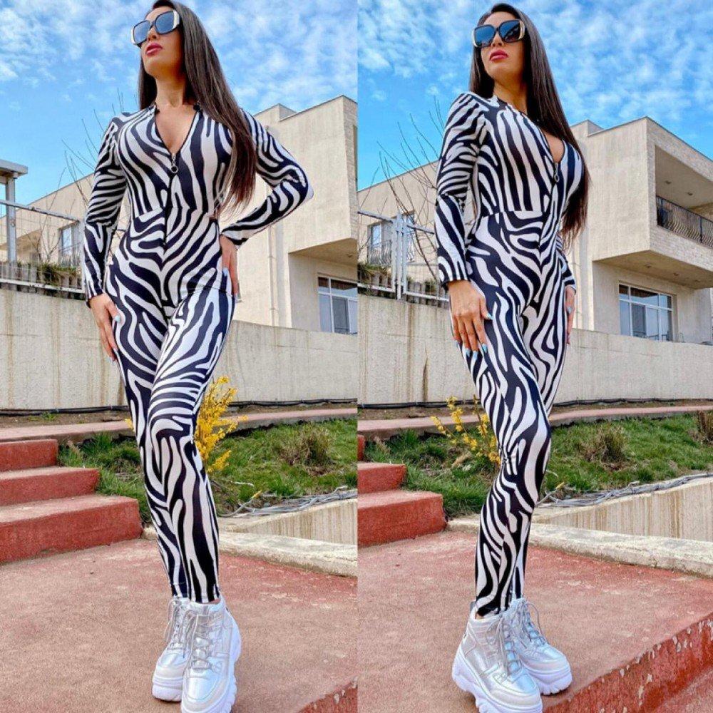 Compleu-salopeta lunga cu imprimeu zebra si curea inclusa