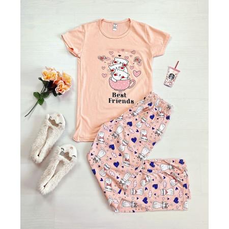 Pijama dama roz lunga cu imprimeu pisicute Bestfriends