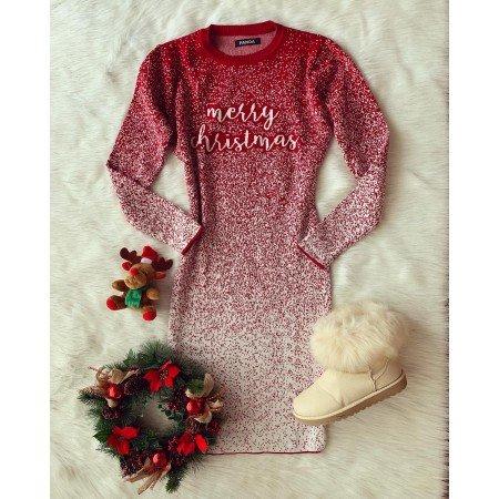 Rochie rosie scurta tricotata cu motive de Craciun