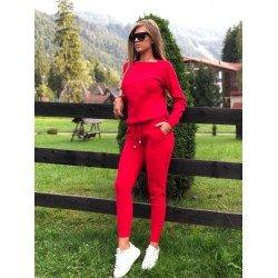 Trening dama rosu din tricot gros cu buzunare