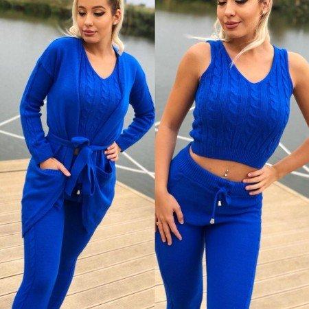 Compleu dama tricotat albastru compus din maiou + pantaloni + cardigan