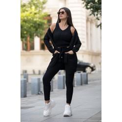 Compleu dama tricotat negru compus din maiou + pantaloni + cardigan