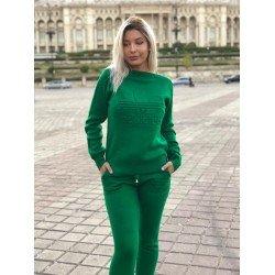 Trening dama verde din tricot cu imprimeu Addicted