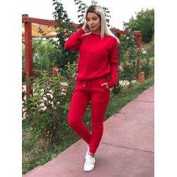 Trening dama rosu din tricot gros cu imprimeu Addicted