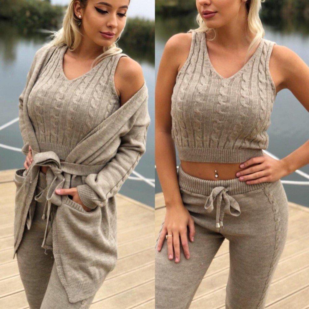 Compleu dama tricotat crem compus din maiou + pantaloni + cardigan