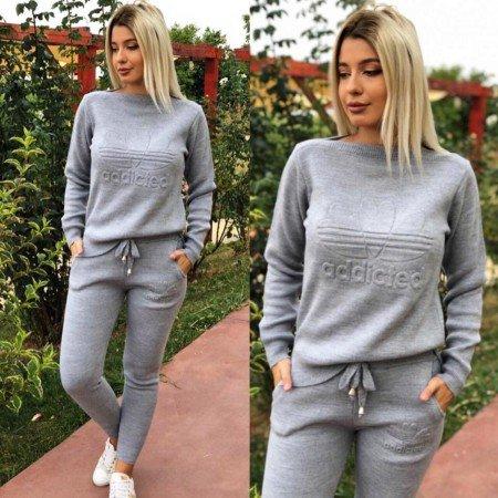 Trening dama gri din tricot cu imprimeu Addicted