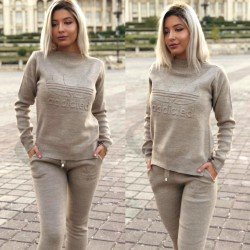 Trening dama bej din tricot cu imprimeu Addicted