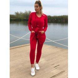 Compleu dama tricotat rosu compus din maiou + pantaloni + cardigan
