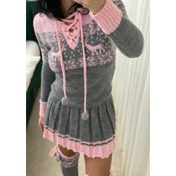 Compleu dama roz alcatuit din rochie + caciula + jambiere