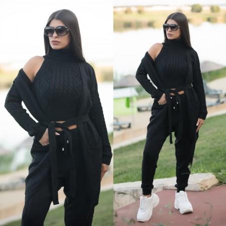 Compleu dama tricotat negru compus din 4 piese