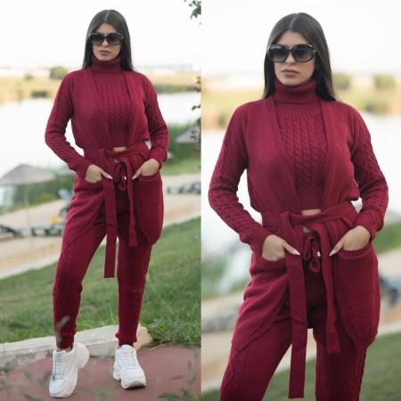 Compleu dama tricotat visiniu compus din 4 piese