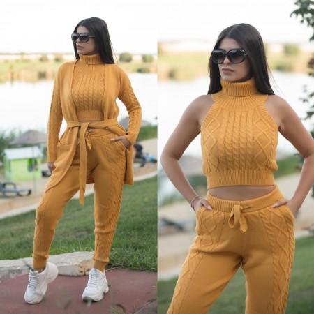 Compleu dama tricotat galben compus din 4 piese