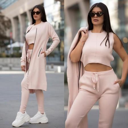 Compleu dama office tricotat roz alcatuit din 3 piese