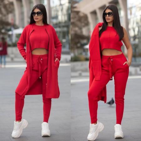 Compleu dama office tricotat rosu alcatuit din 3 piese