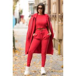 Compleu dama sport tricotat rosu alcatuit din 3 piese