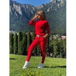 Trening dama rosu casual tricotat cu buzunare