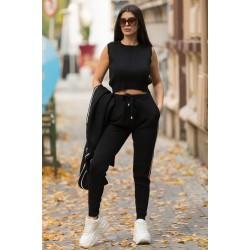Compleu dama sport tricotat negru alcatuit din 3 piese