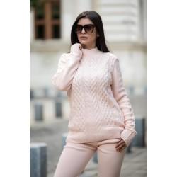 Trening dama rose din tricot gros cu buzunare