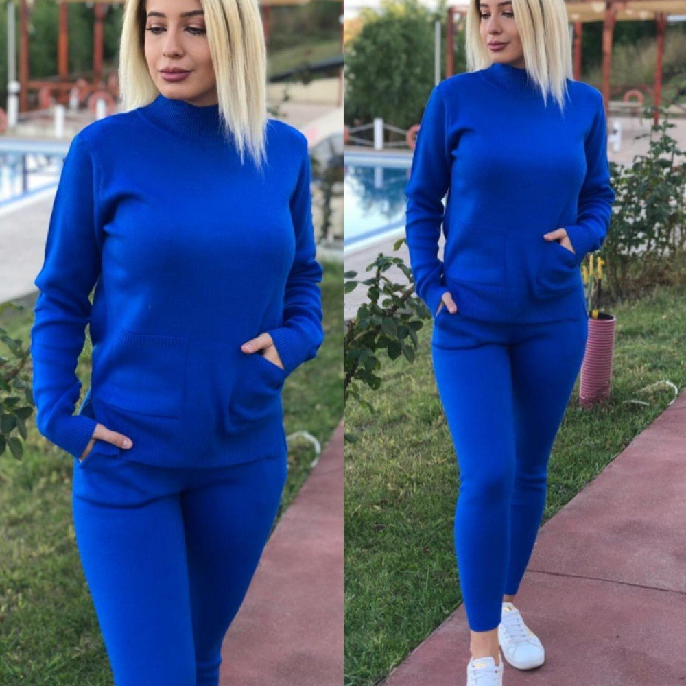 Trening dama albastru tricotat gros cu buzunare super trendy