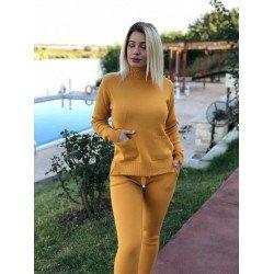 Trening dama galben mustar tricotat super pentru toamna