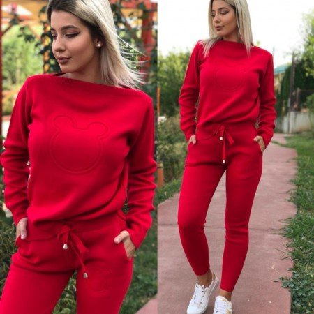 Trening dama rosu tricotat cu imprimeu cap Mickey