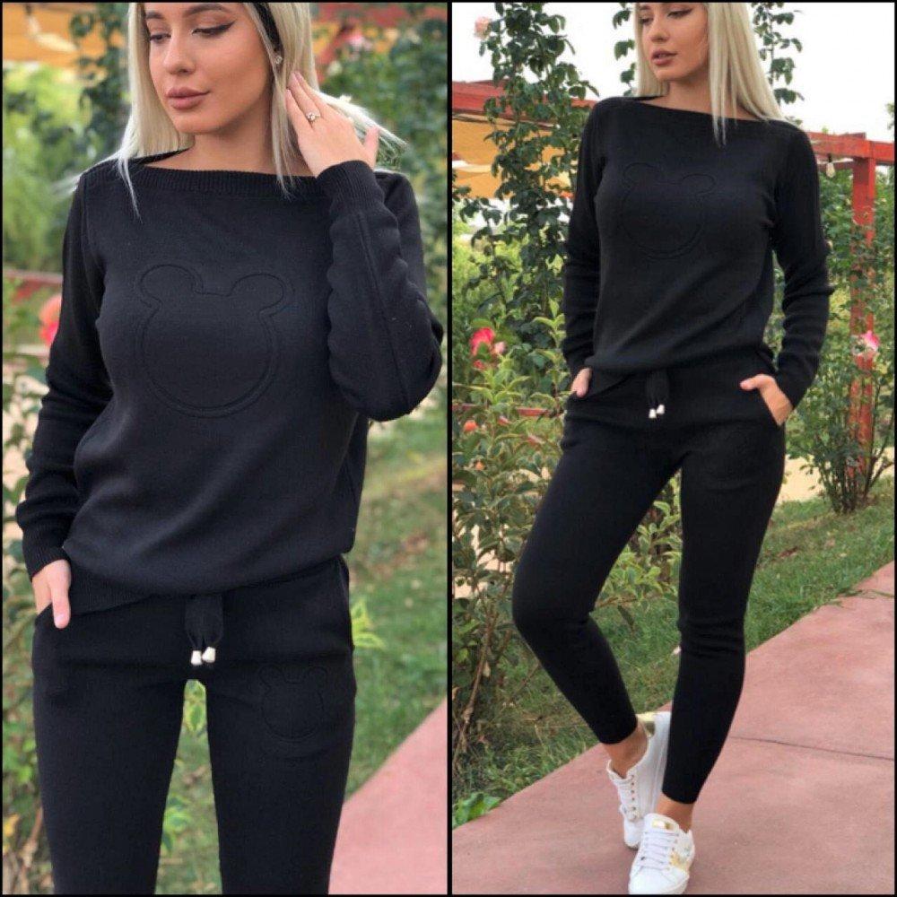 Trening dama negru din material tricotat cu imprimeu cap Mickey