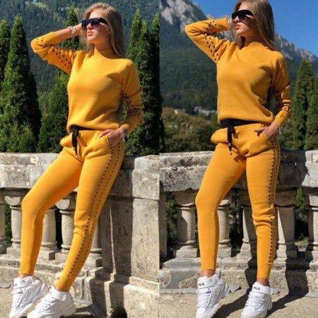 Trening dama galben mustar tricotat pentru sezonul rece