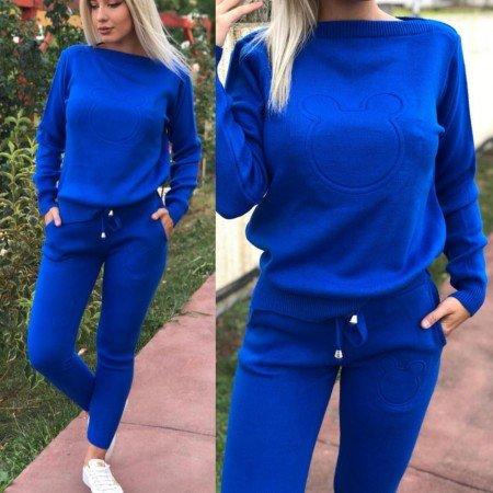 Trening dama albastru tricotat cu imprimeu cap Mickey