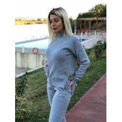 Trening dama gri deschis tricotat cu buzunare