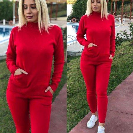 Trening dama rosu tricotat lung cu buzunare