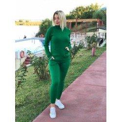Trening dama lung verde tricotat cu buzunare