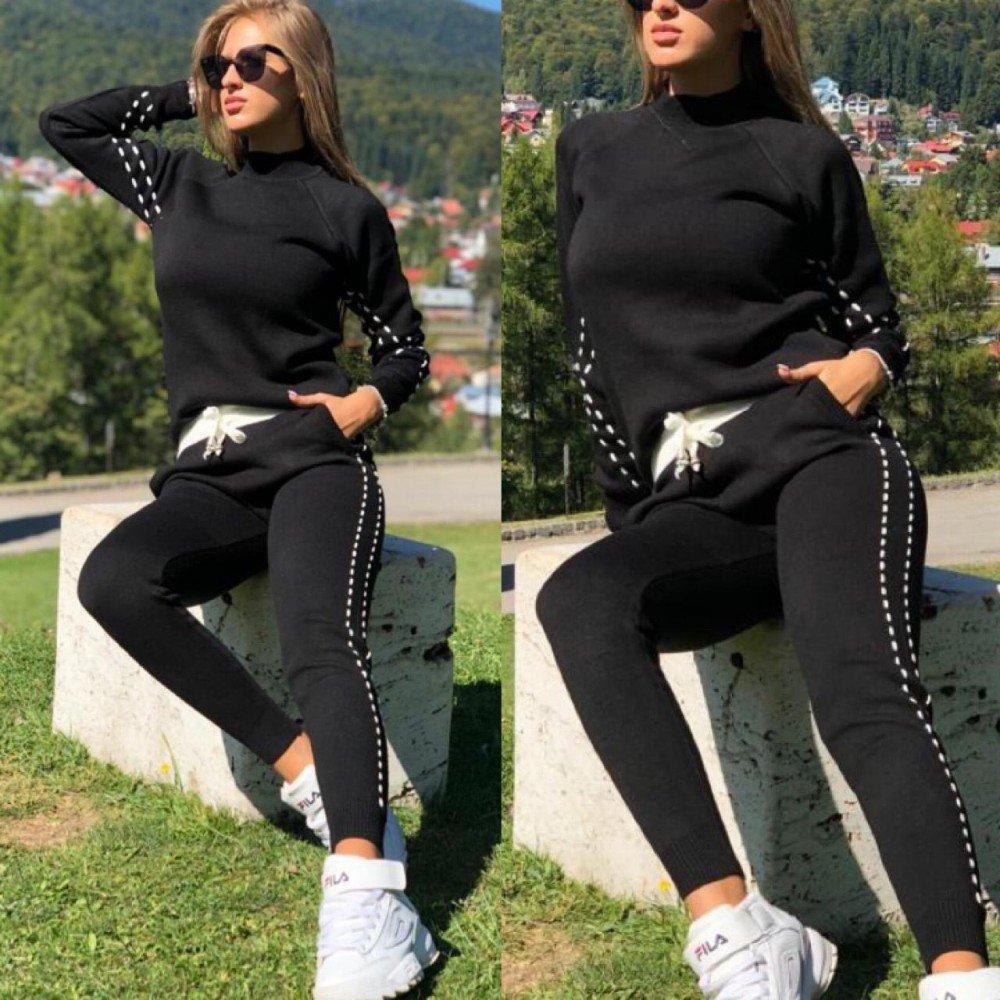 Trening dama negru tricotat lung cu dungi