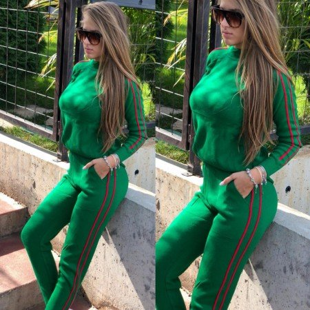Trening dama lung verde din material gros tricotat