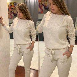 Trening dama crem lung din material tricotat