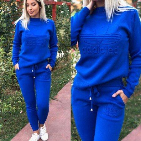 Trening dama albastru cu imprimeu din material tricotat