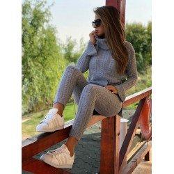 Trening dama gri din tricot material premium cu buzunare