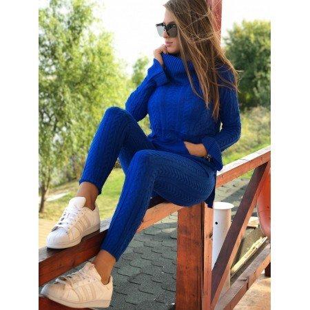 Trening dama albastru din tricot cu buzunare